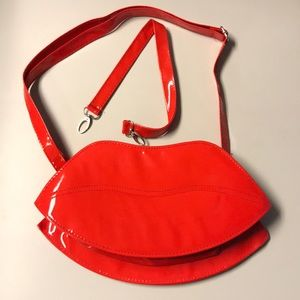 Handbags - Red Patent Leather Lip Purse w/ Long & Short Strap
